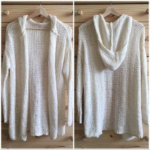 Lou & Grey Ivory Hooded Open Knit Cardigan Sweater